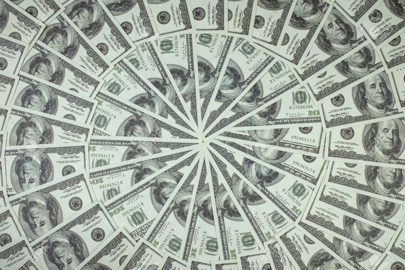 Group of money stack of 100 US dollars banknotes a lot of is arranged in a beautiful circle - 151542000