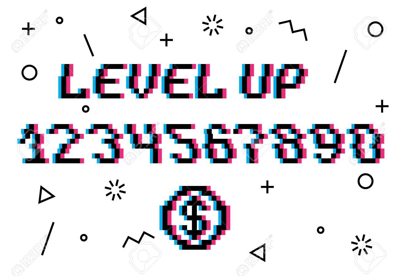 Vector Nivel Arriba Frase De Estilo De 8 Bits De Píxeles Con Números Del 0 Al 9 Pixel Coin Concept Of Money Fondo Blanco Decoración De Patrón De