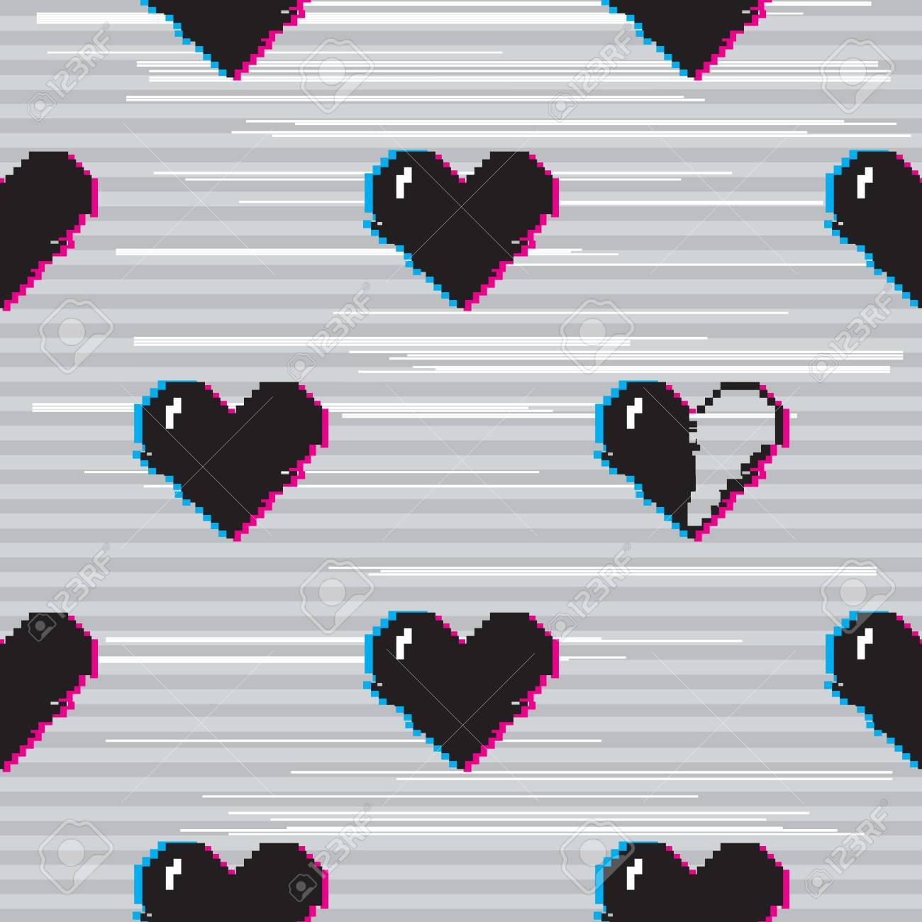 Modèle Sans Couture De Vecteur Avec 8 Bits Pixel Art Style Coeurs Noirs Sur Fond Gris Avec Effet Glitch Vhs Un Coeur Est à Moitié Plein