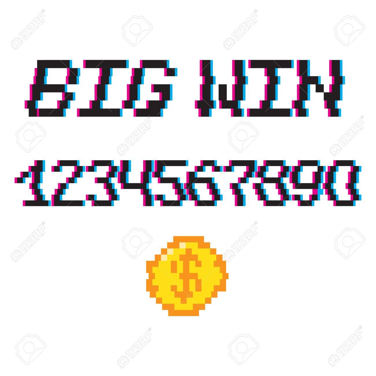 Vector 8 Bit Pixel Art Style Phrase Big Gagner Avec 0 9 Chiffres Et Pièce Dor Modèle Pour Bannière De Prix Effet Glitch Vhs