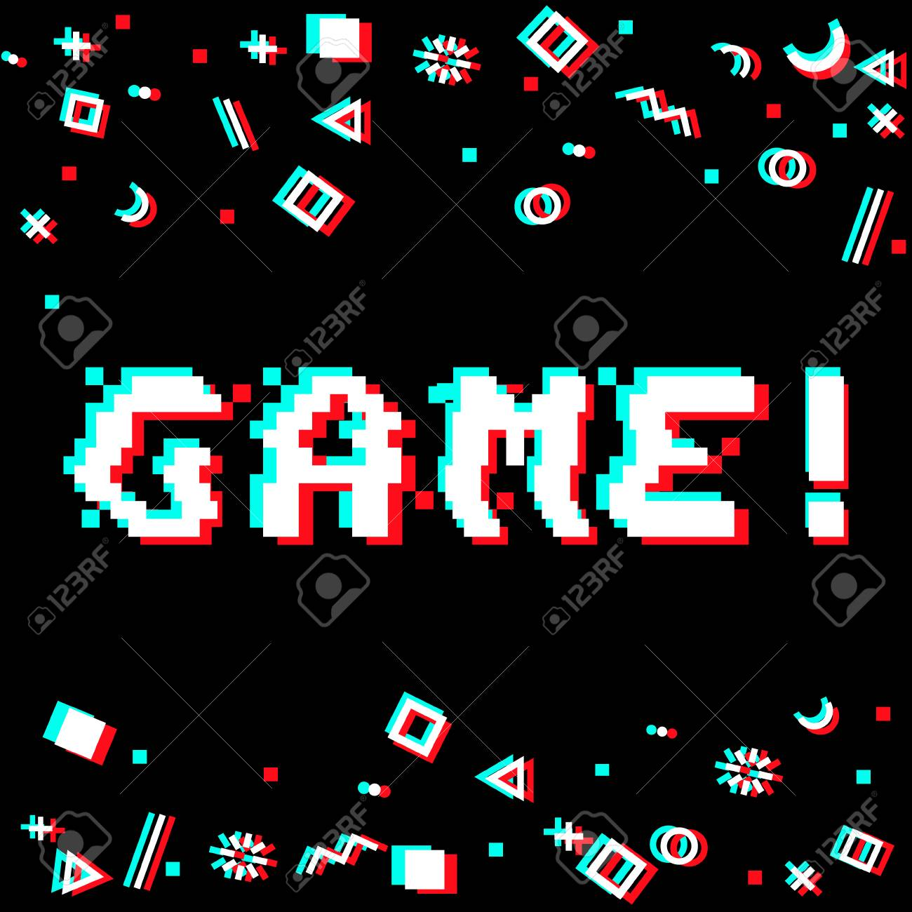 vector game phrase in pixel art 8 bit style with glitch vhs effect