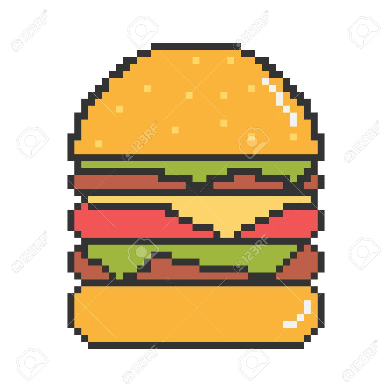 Vector Pixel Art 8bit Illustration Of A Burger With Black Stroke