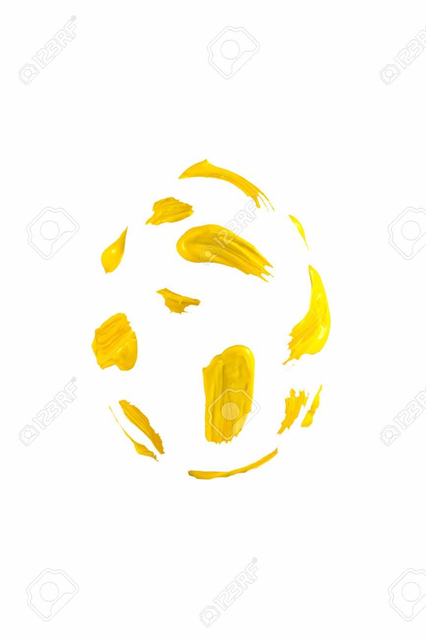 Yellow Pinselstriche Geprägt Isolierten Osterei Lizenzfreie Fotos