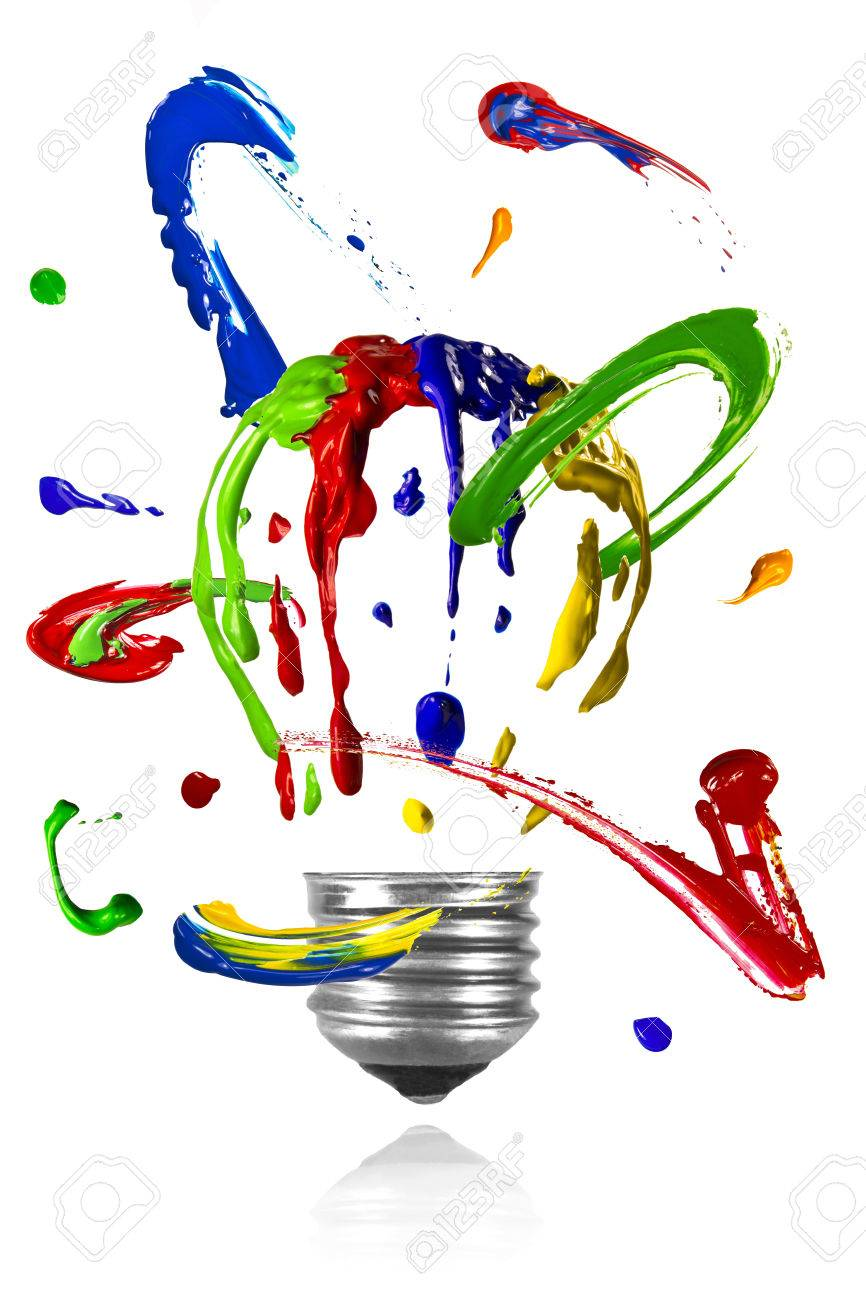 Multicolor Paint Orbit Around Painted Light Bulb Stock Photo   35524725