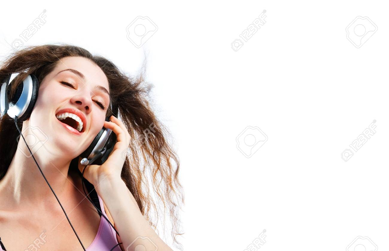 girl in headphones on a white background Stock Photo - 1208651