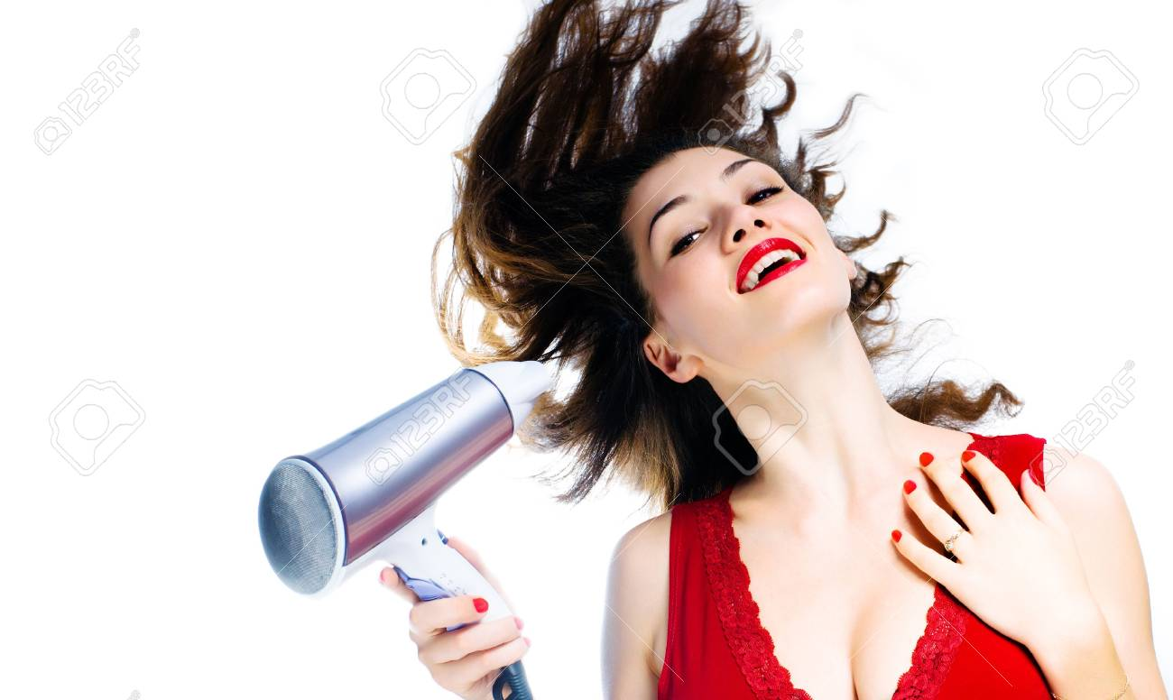 a  girl with a dry on the white background Stock Photo - 2036923