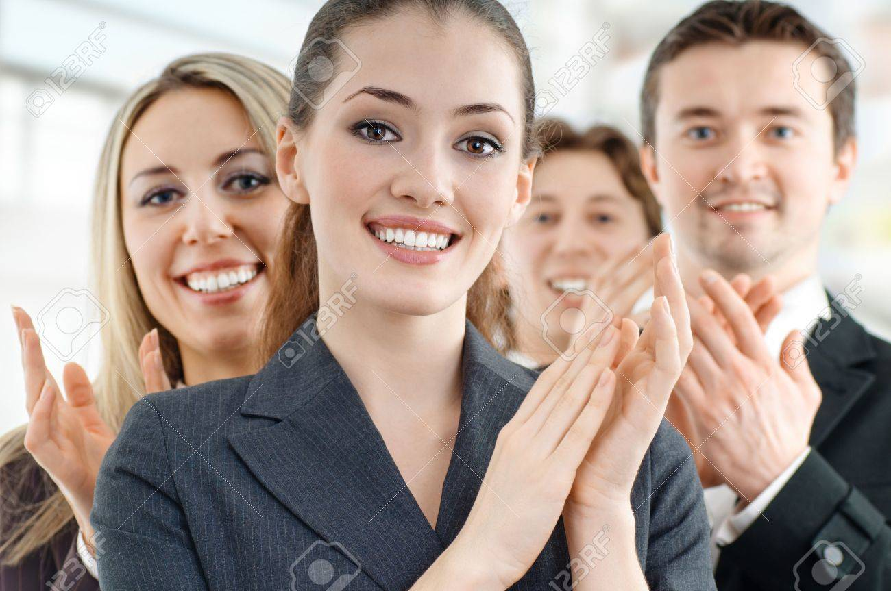 team of successful smiling young business people Stock Photo - 4280645
