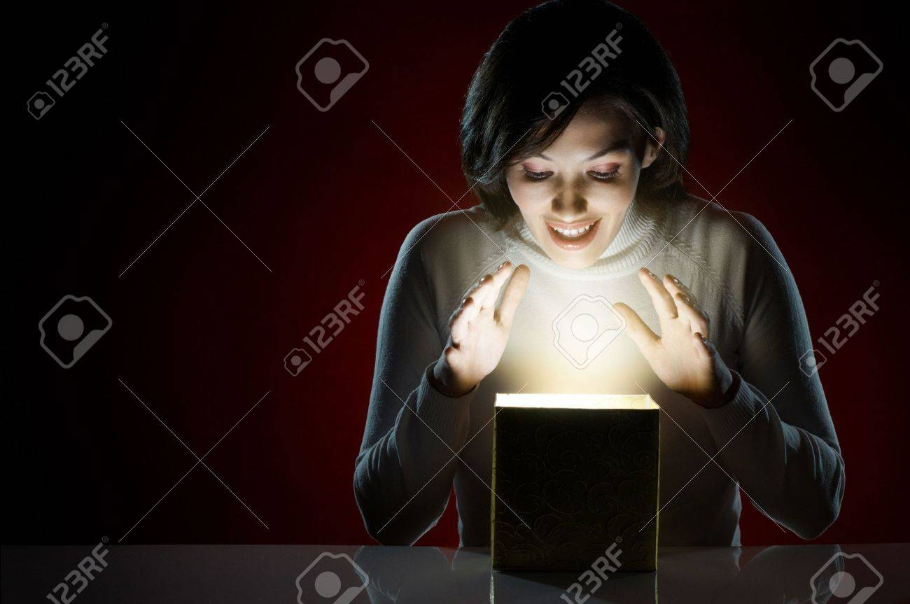 a beauty young girl with christmas gift Stock Photo - 7903987