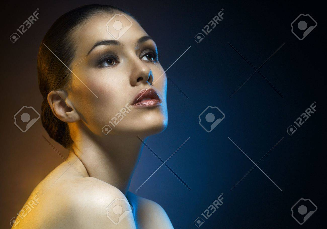 a beauty girl on the dark background Stock Photo - 8107487