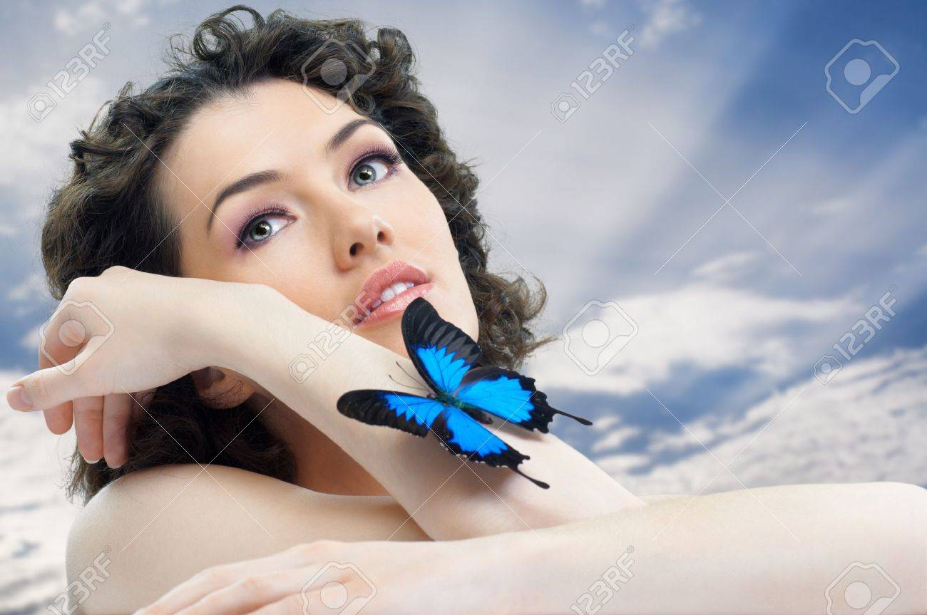 girl and a beautiful butterfly Stock Photo - 9232003