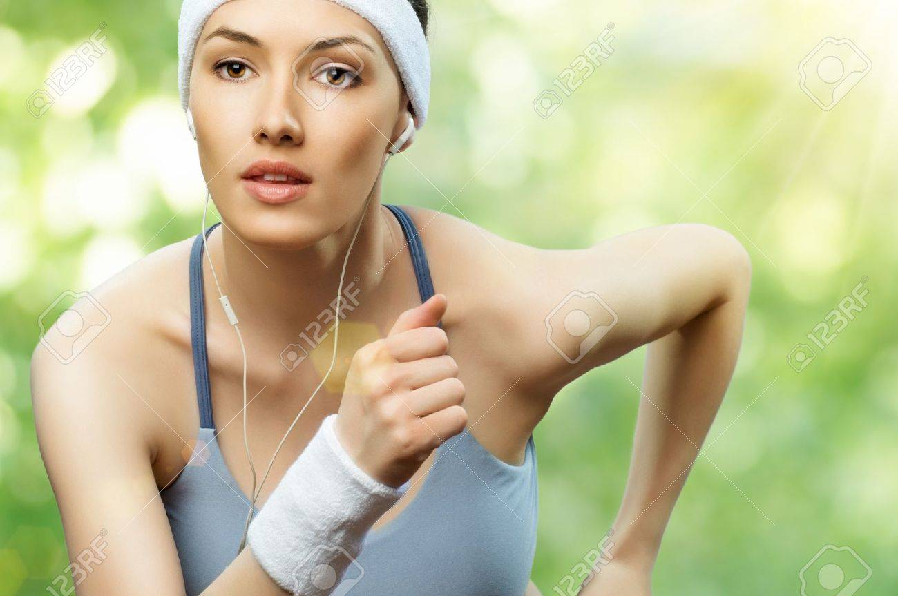 girl in sport on the nature Stock Photo - 9362651