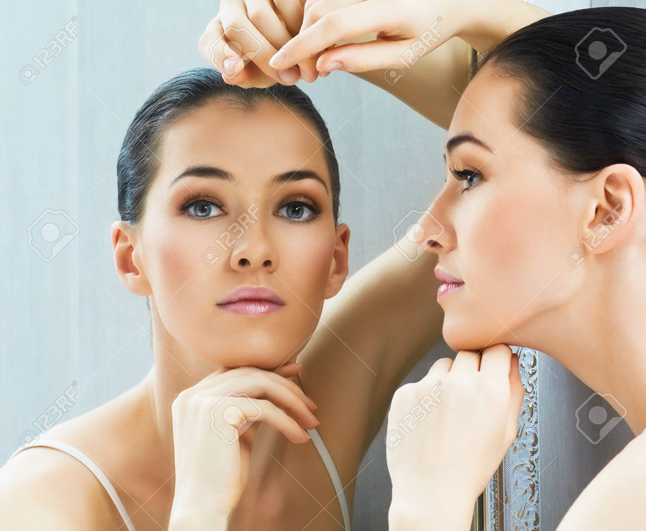 a beauty girl on the mirror background Stock Photo - 23135980