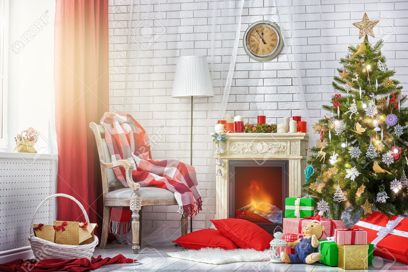 Of Living Rooms Decorated For Christmas A Beautiful Living Room Decorated For Christmas Stock Photo