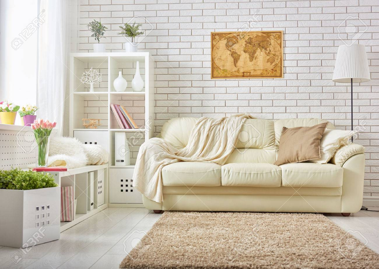 Modern Living Room In Bright Colors Stock Photo, Picture And Royalty ...