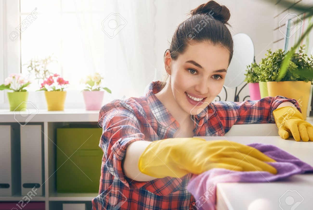 beautiful young woman makes cleaning the house. girl rubs dust