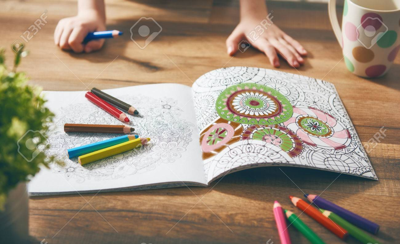Child Paint A Coloring Book New Stress Relieving Trend Concept Mindfulness Relaxation