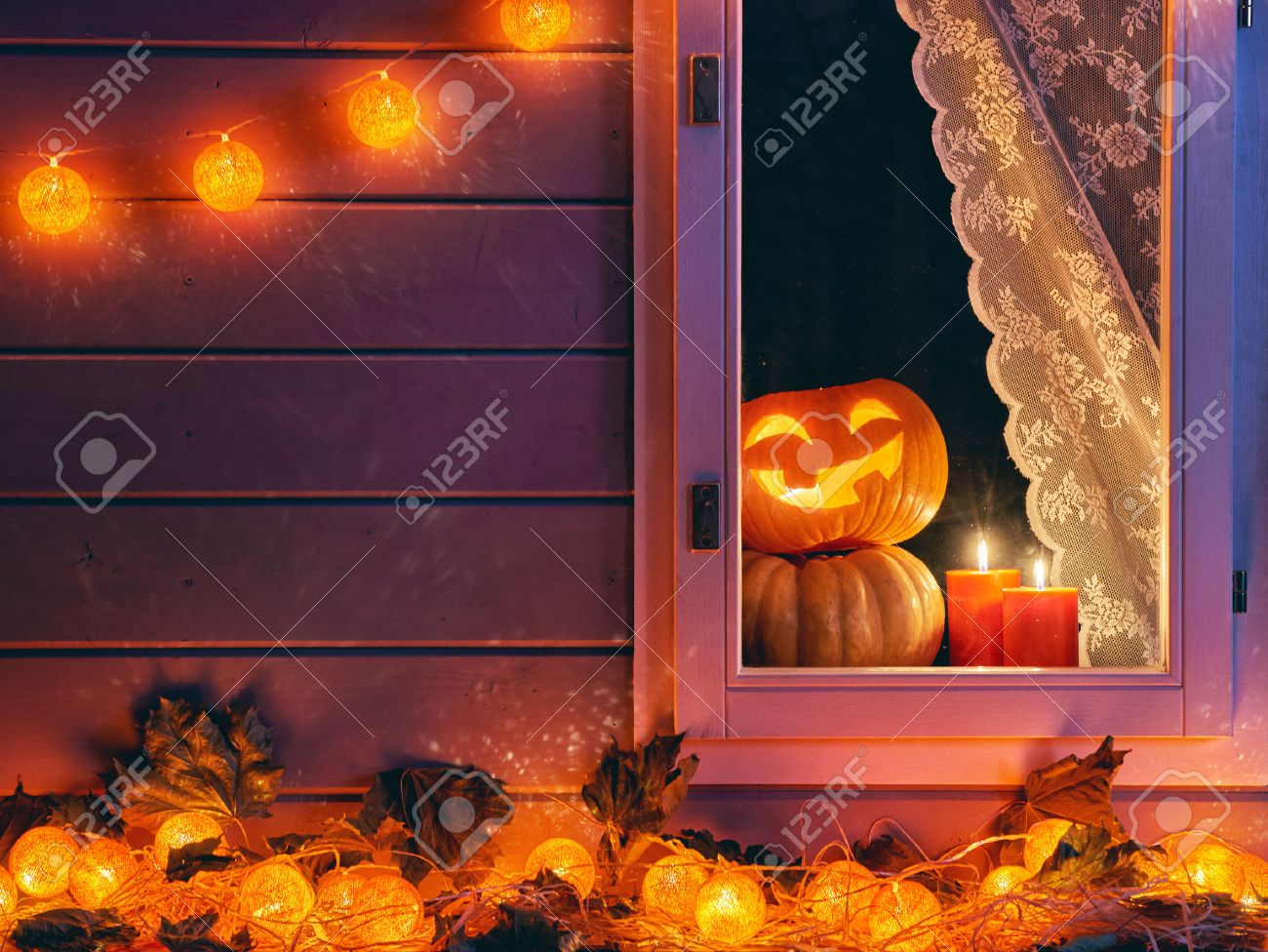 Happy Halloween The Window Of A House Decorated For The Holiday Stock Photo Picture And Royalty Free Image Image 63010265