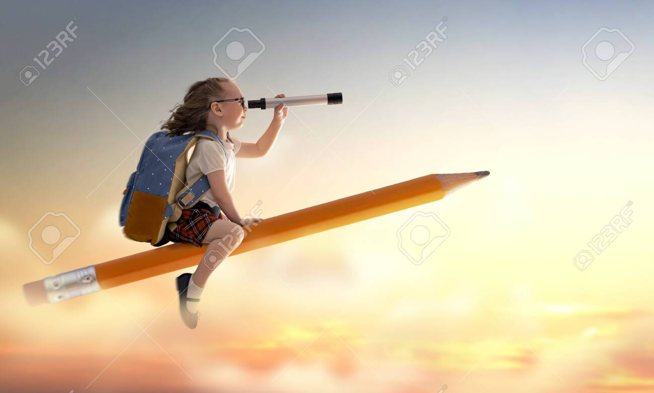 Back to school! Happy cute industrious child flying on the pencil on background of sunset sky. Concept of education and reading. The development of the imagination. - 124869750