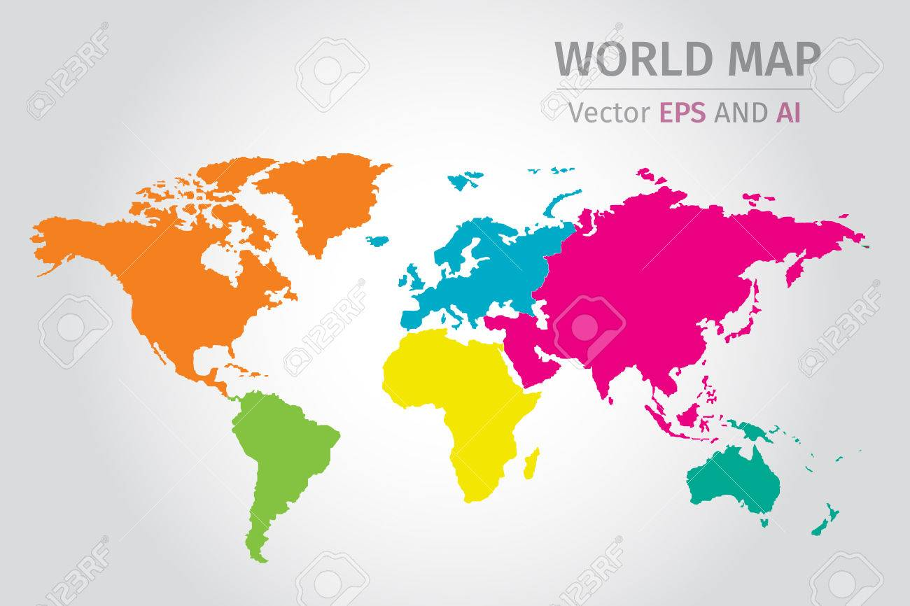Vector world map using different colors on each continent using vector world map using different colors on each continent using nasa map for reference gumiabroncs