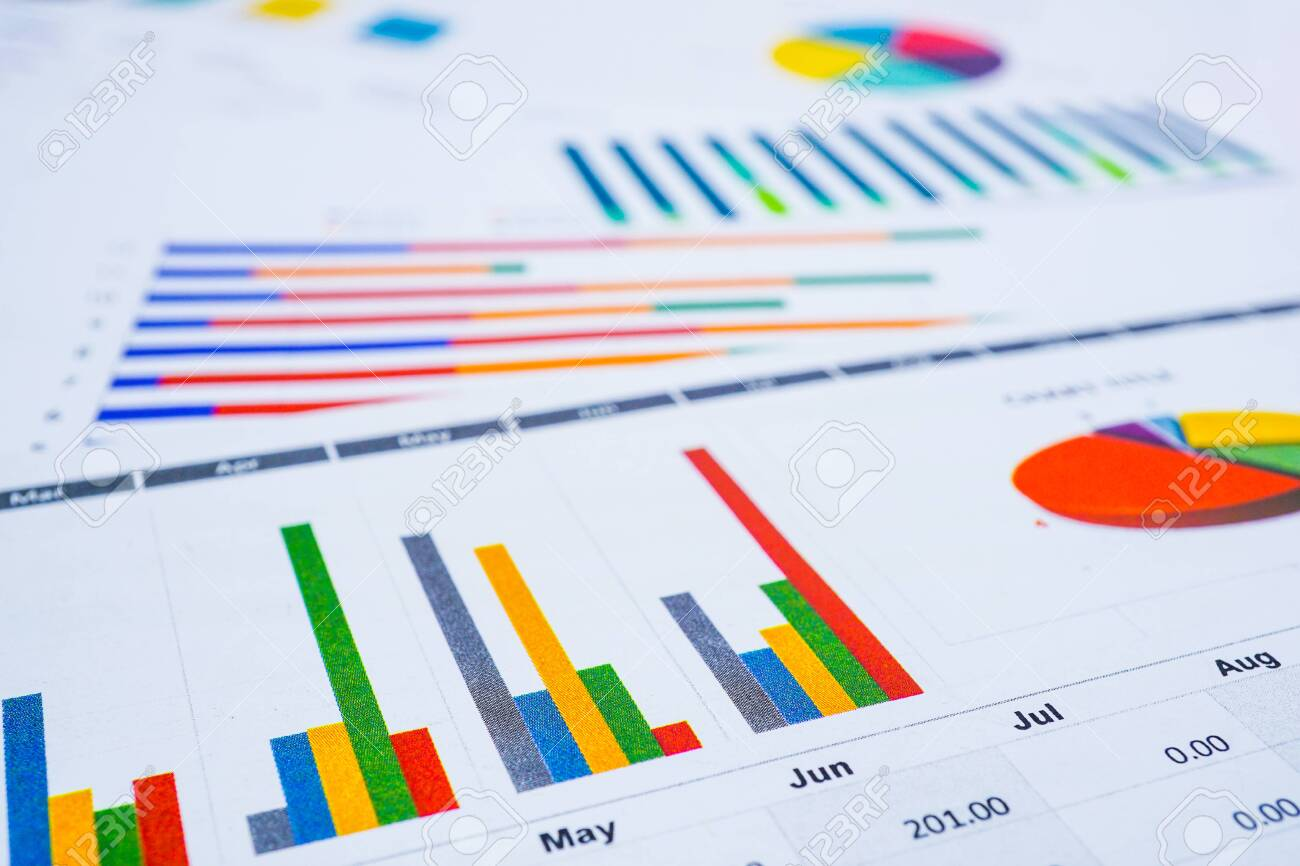 Charts Graphs spreadsheet paper. Financial development, Banking Account, Statistics, Investment Analytic research data economy, Stock exchange Business office company meeting concept. - 130343422