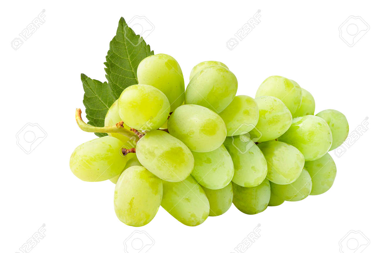 Fresh green grape isolated on white background. - 166691810