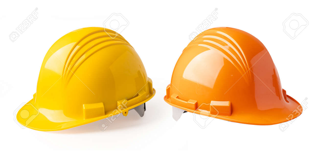 Yellow and Orange color construction helmet isolated on white background, engineer safety concept. - 167484626