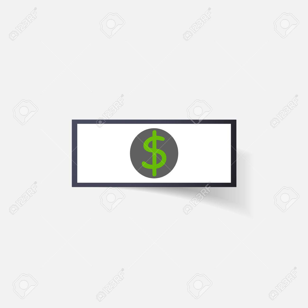 Paper Clipped Sticker Money Dollar Bill With The Image Isolated Il Ration Icon Stock