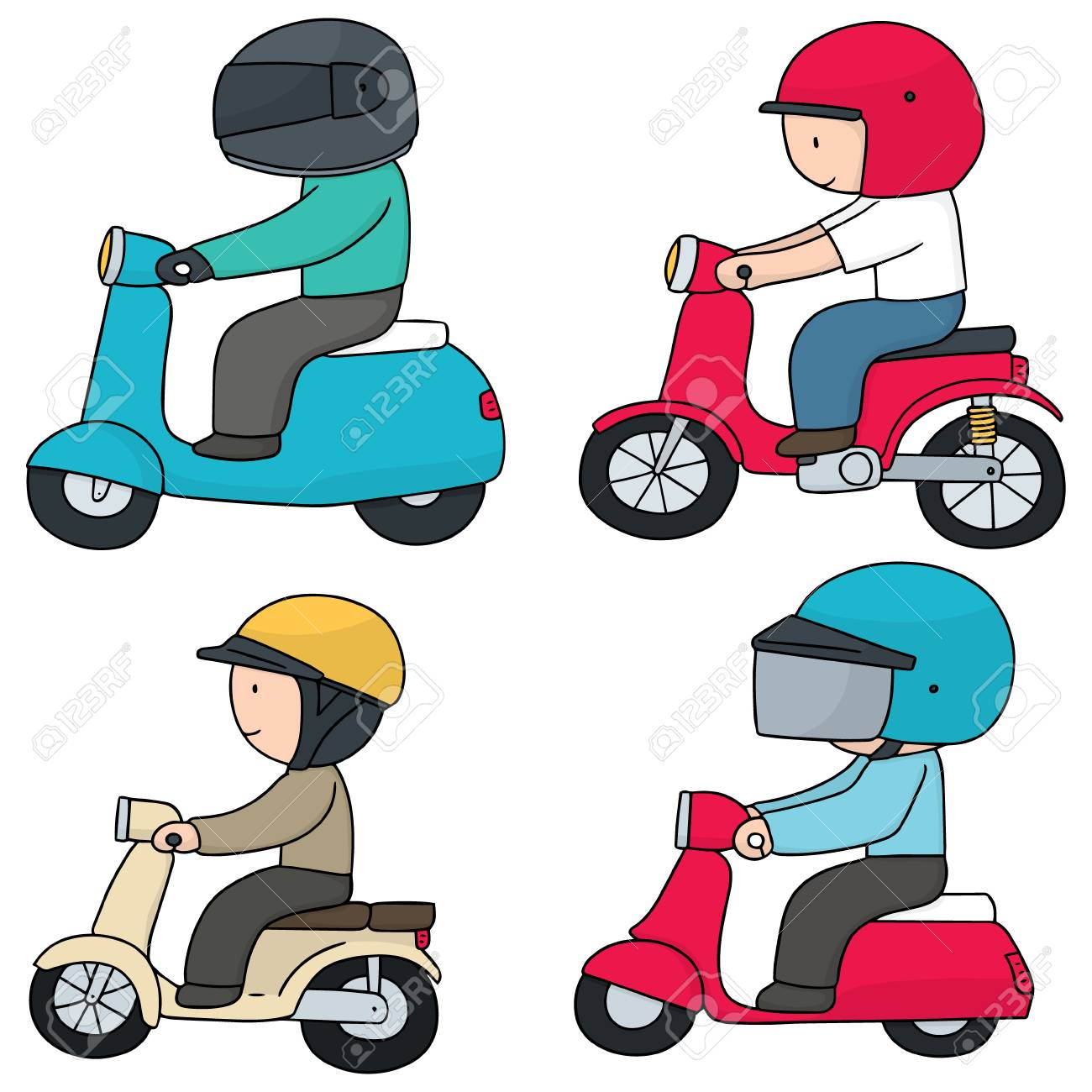 vector set of riding motorcycle - 60829846