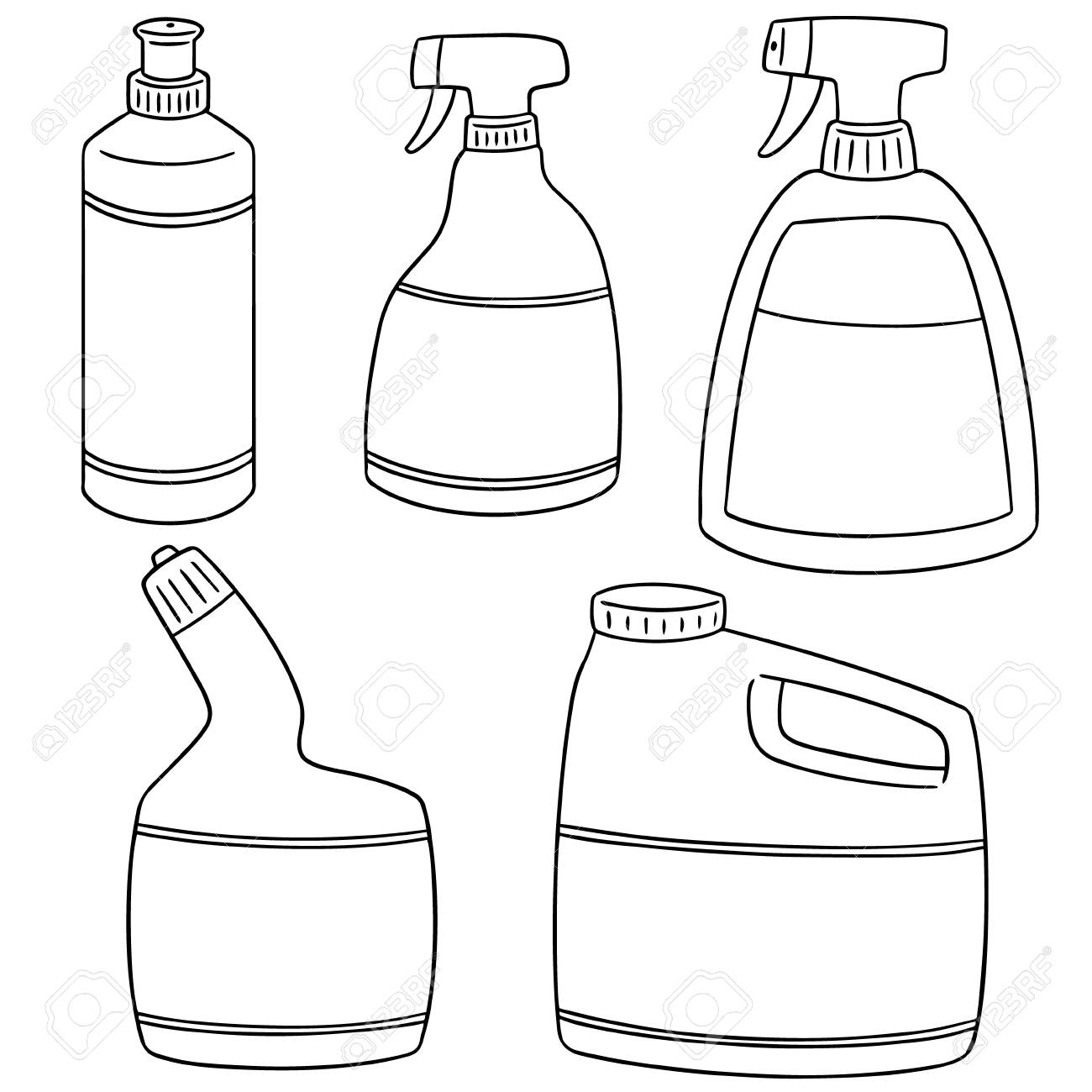 Set Of Bathroom Cleaning Solution Icon Royalty Free Cliparts - Bathroom cleaning solution