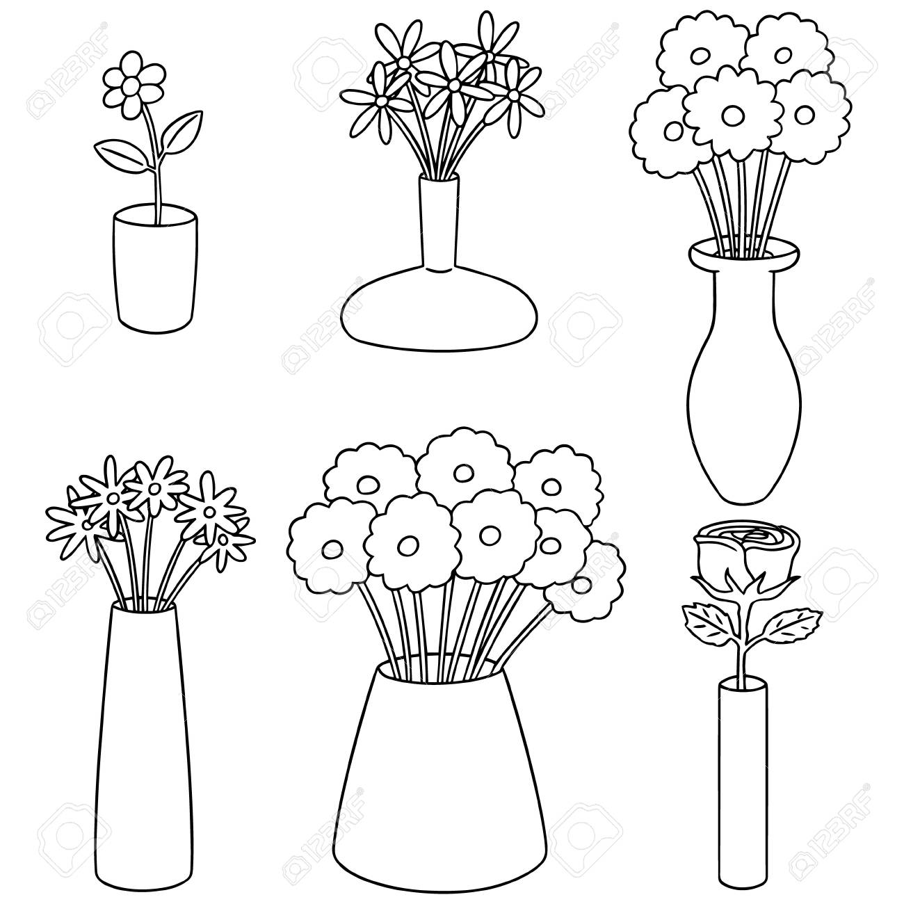 Vector Set Of Flower Vase Icon On White Background Vector Illustration Royalty Free Cliparts Vectors And Stock Illustration Image 89222601