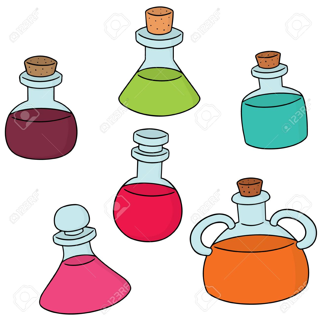 Watercolor Glass Bottles Clipart | Pre-Designed Photoshop Graphics ~  Creative Market