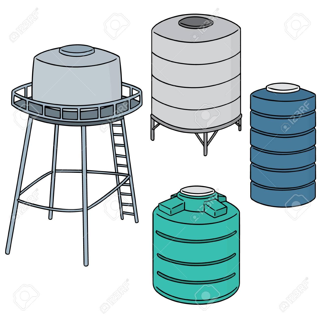Water Storage Tanks >> Vector Set Of Water Storage Tank Royalty Free Klipartlar Vektor