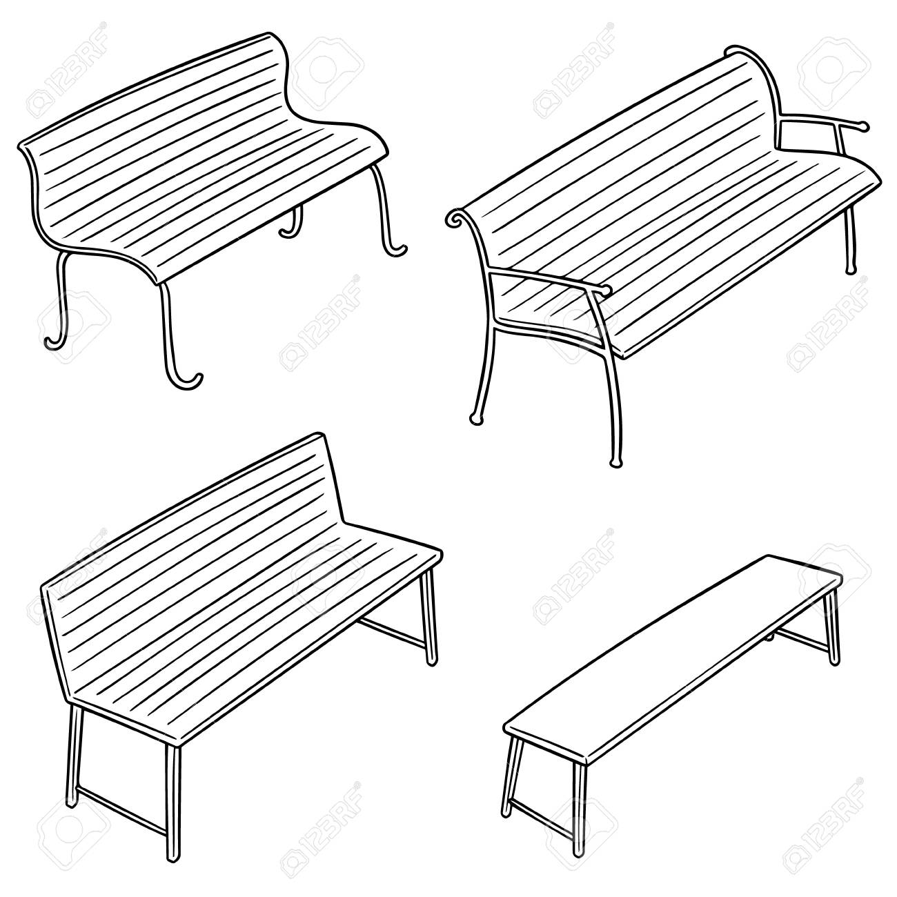 Wondrous Set Of Bench In Outlined Cartoon Illustration Machost Co Dining Chair Design Ideas Machostcouk