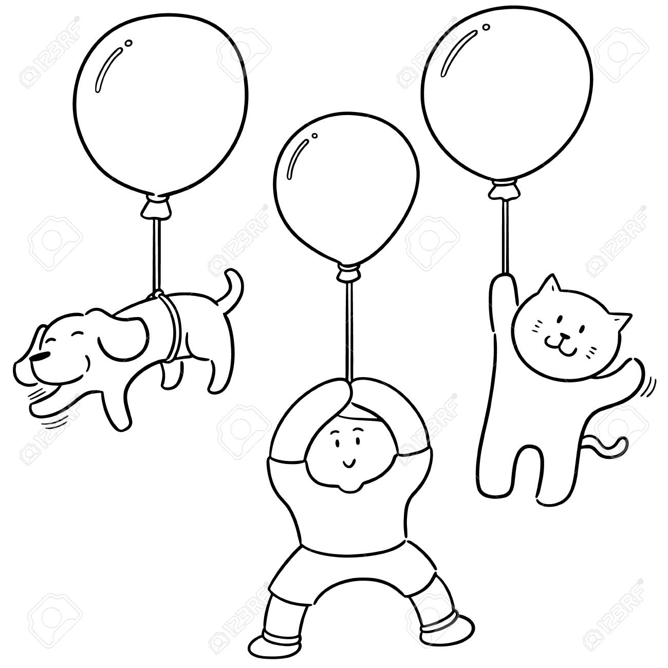 vector set of man and animal with balloon
