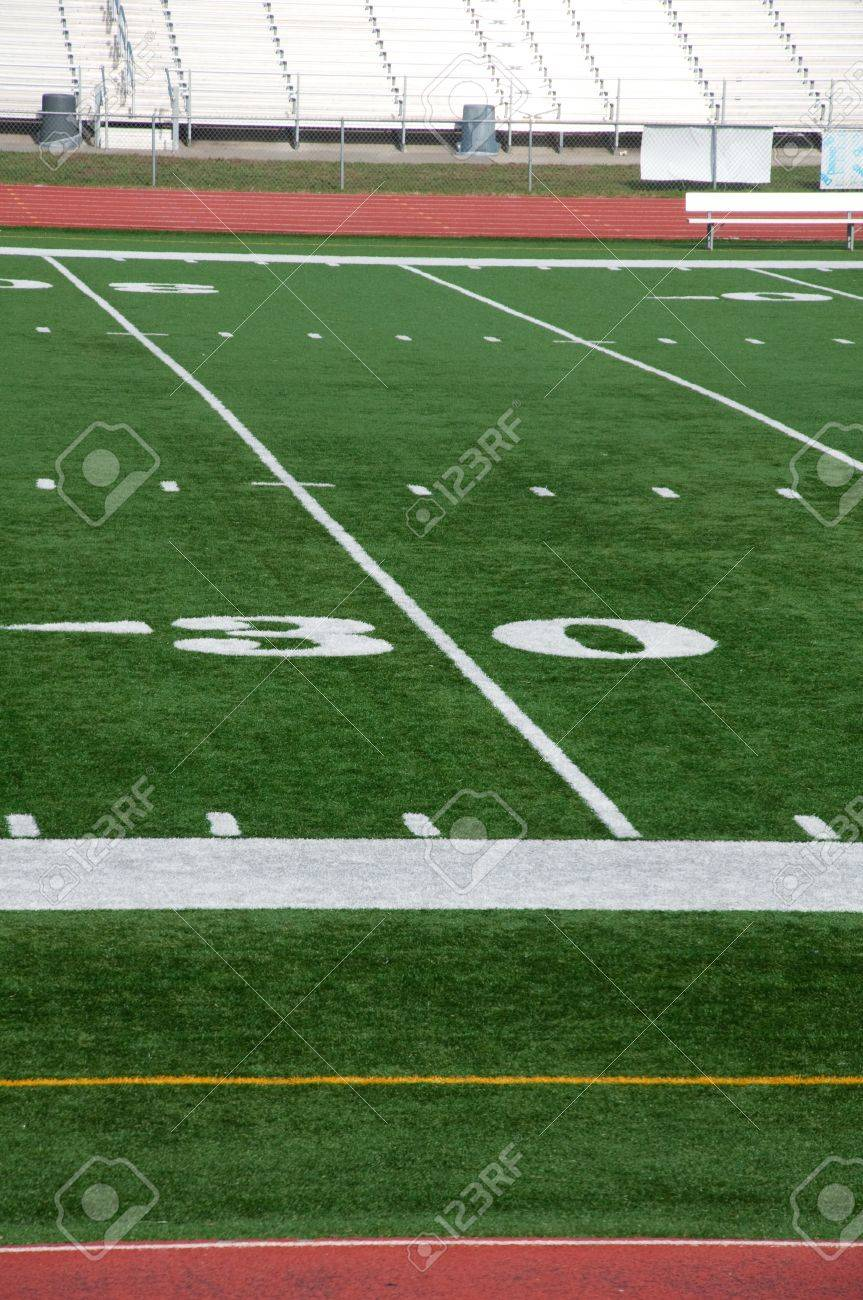 Thirty Yards Mark On Amercian Football Field Stock Photo Picture And Royalty Free Image Image 4172999