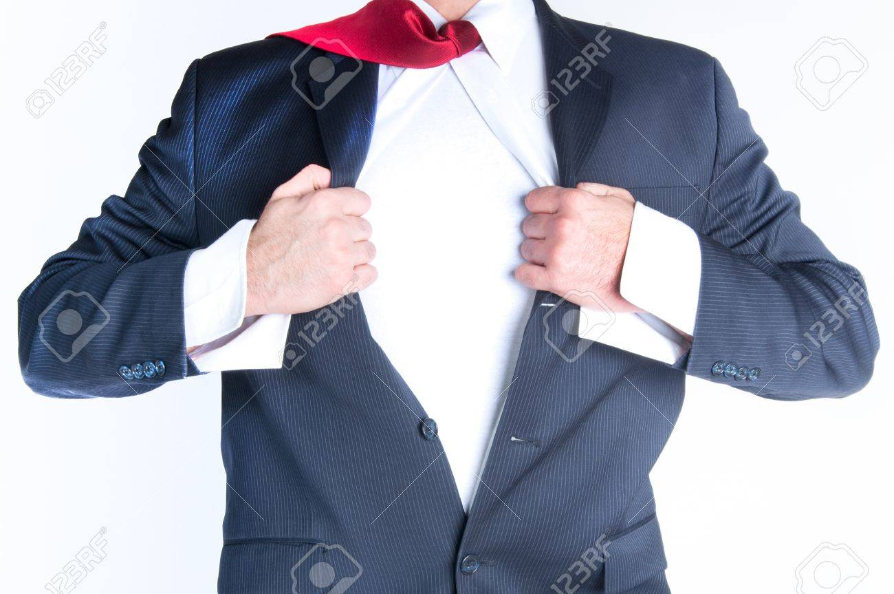 Business man tearing shirt to become a superhero Stock Photo - 12193474