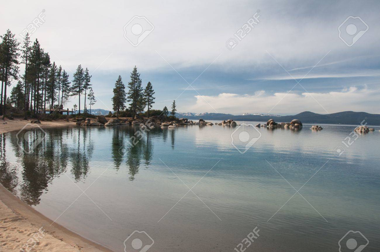 Beautiful landscape during winter time at the Lake Tahoe shore in California Stock Photo - 13103189