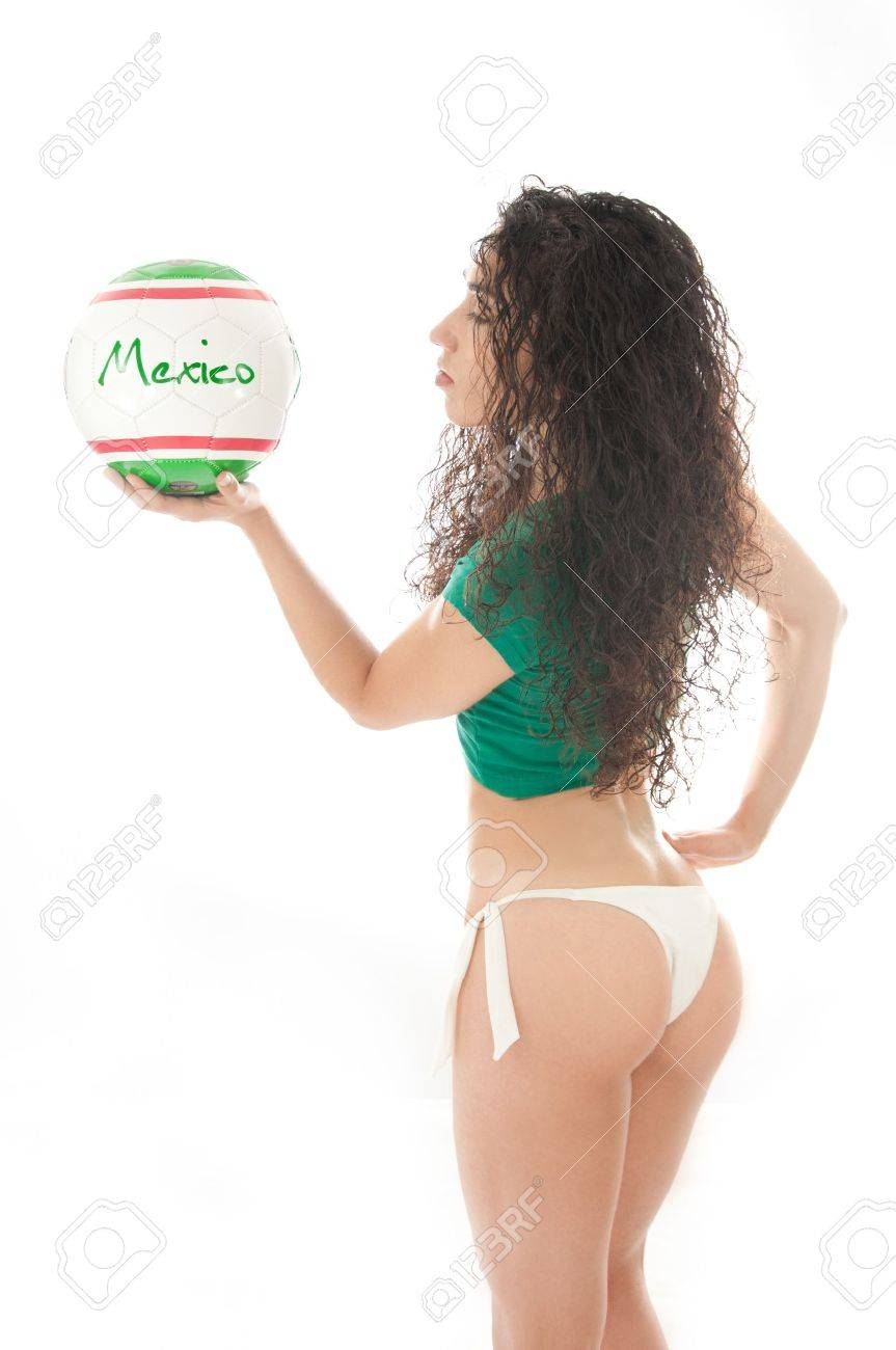 Beautiful model wearing green, red and white underwear holding a Mexico team ball isolated on white Stock Photo - 14790331