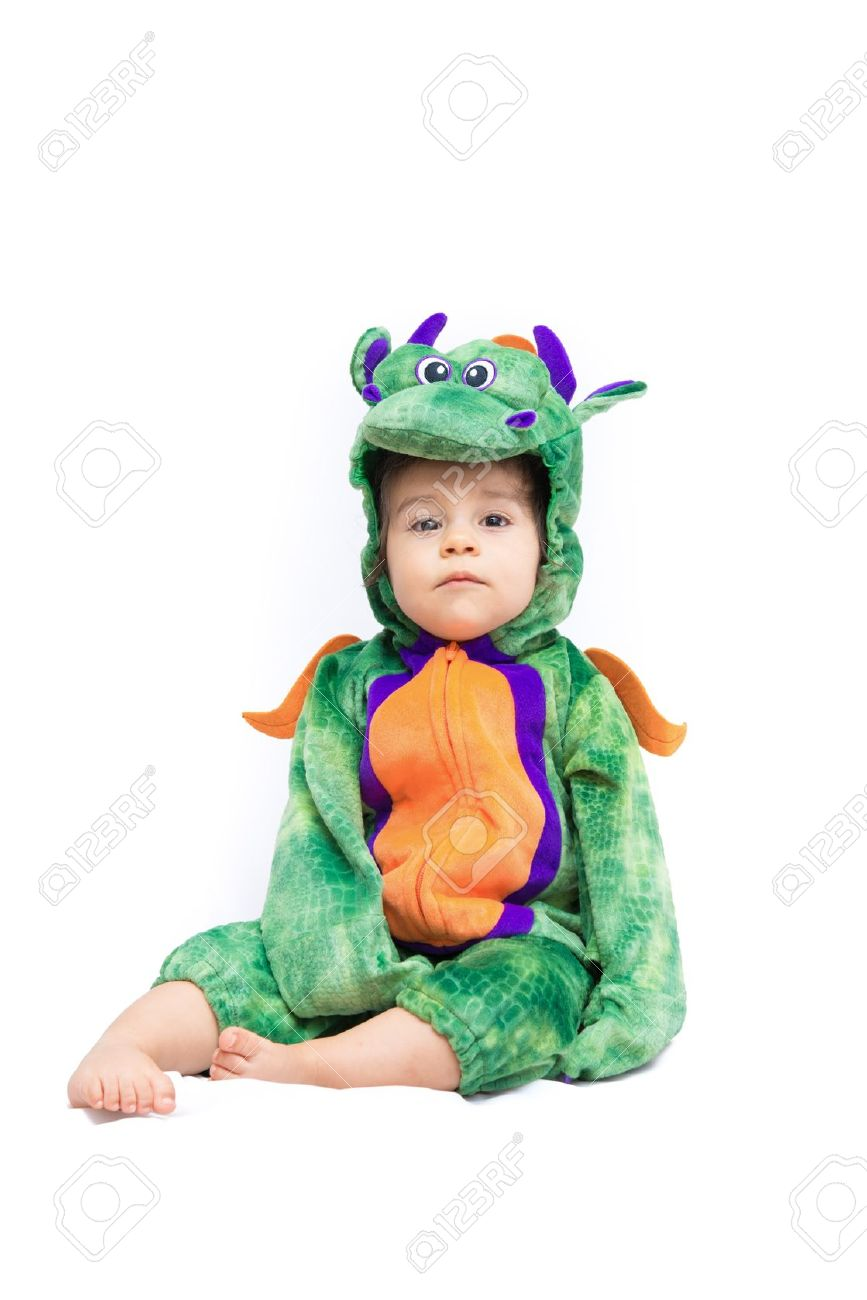 Purple, orange and green dragon costume on bay isolated on pure white Stock Photo - 19356760