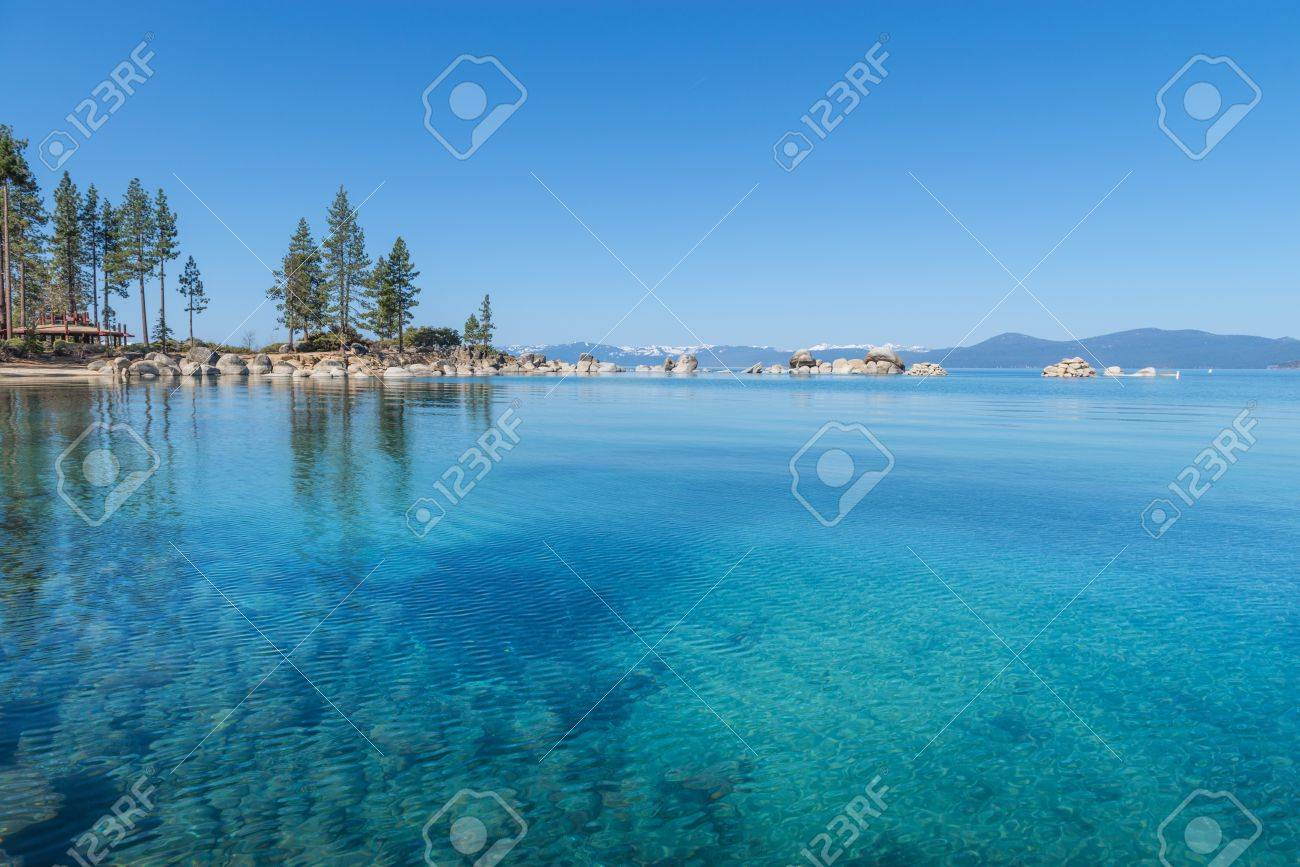 Beautiful blue clear water on the shore of the lake Tahoe Stock Photo - 19393032