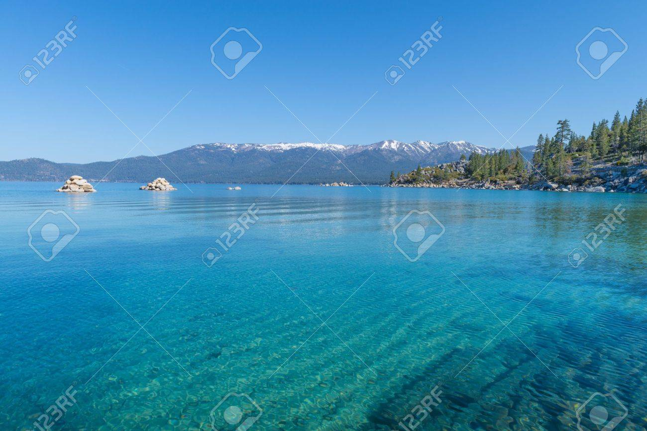 Beautiful blue clear water on the shore of the lake Tahoe Stock Photo - 19393030