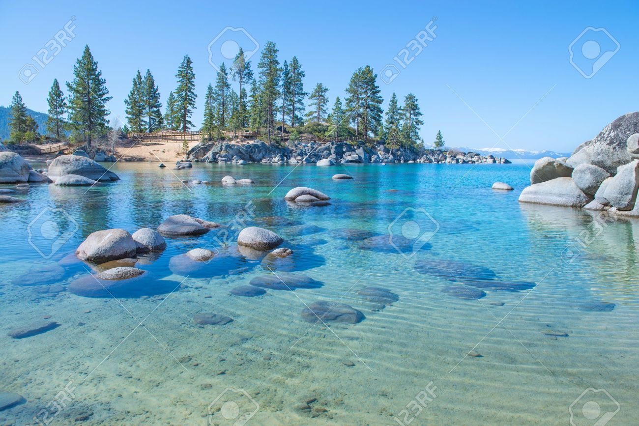 Beautiful blue clear water on the shore of the lake Tahoe Stock Photo - 19408867