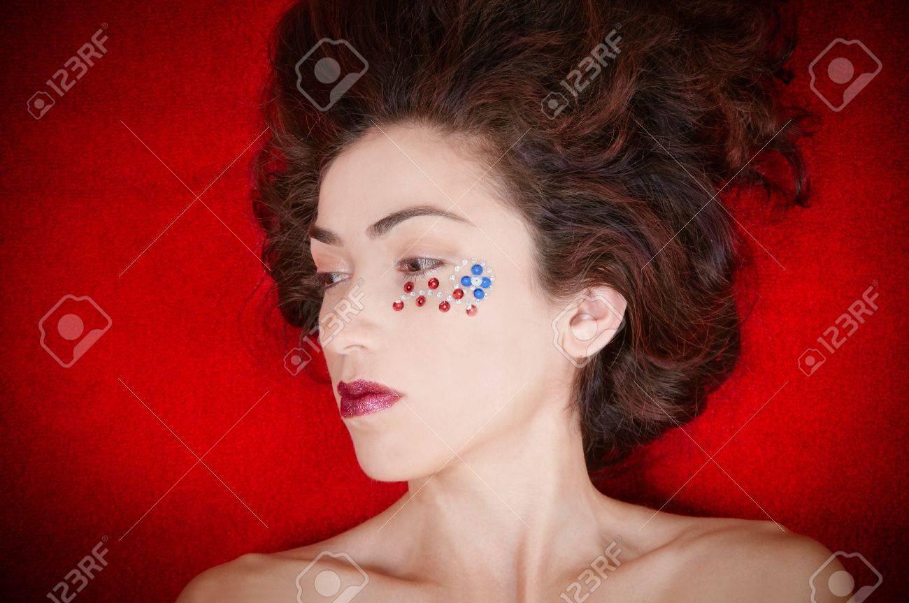 Beautiful model representing the patriotic colors of the United States of America Stock Photo - 19581787