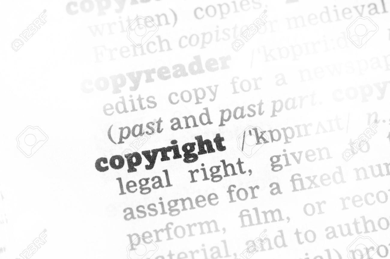 copyright dictionary definition single word with soft focus stock