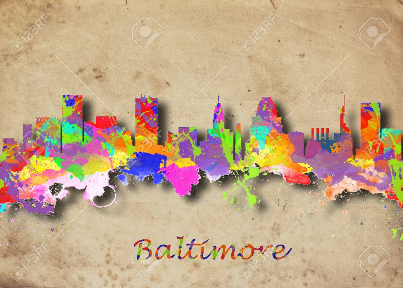 Watercolor art print of the skyline of Baltimore USABeautiful