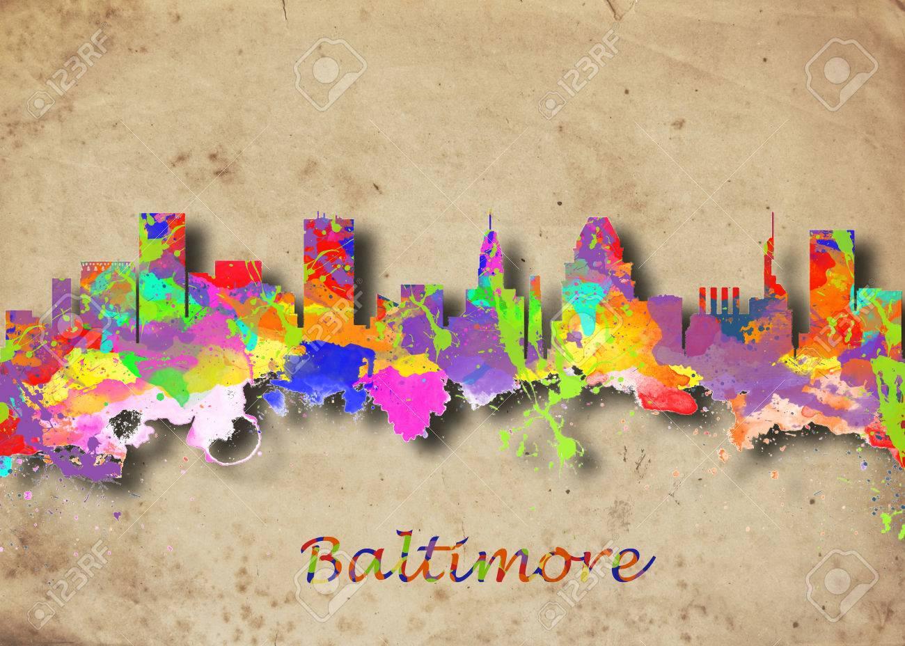 Watercolor Art Print Of The Skyline Of Baltimore USA Beautiful ...