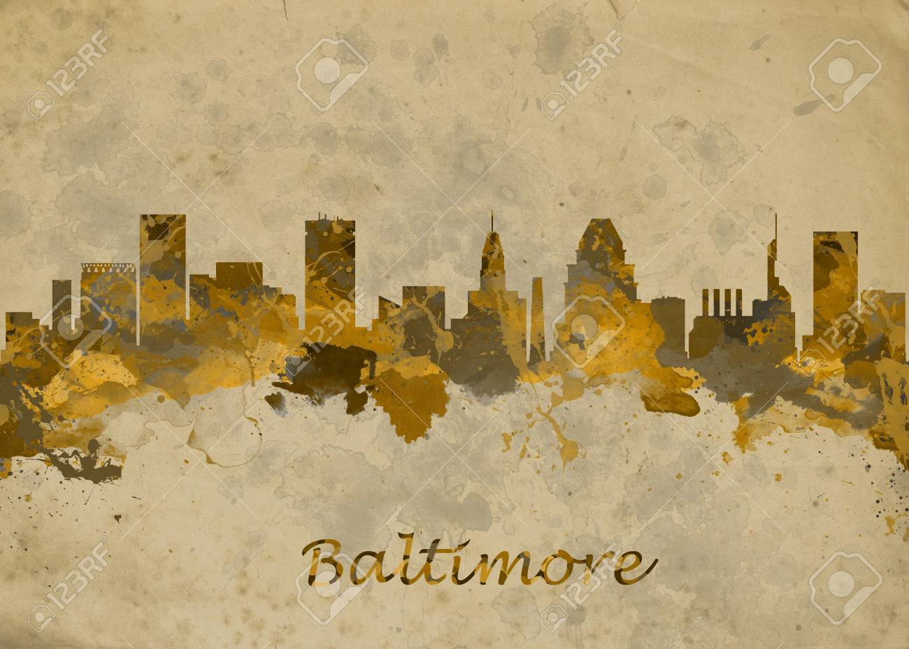 Watercolor Art Print Of The Skyline Of Baltimore USA Beautiful ...