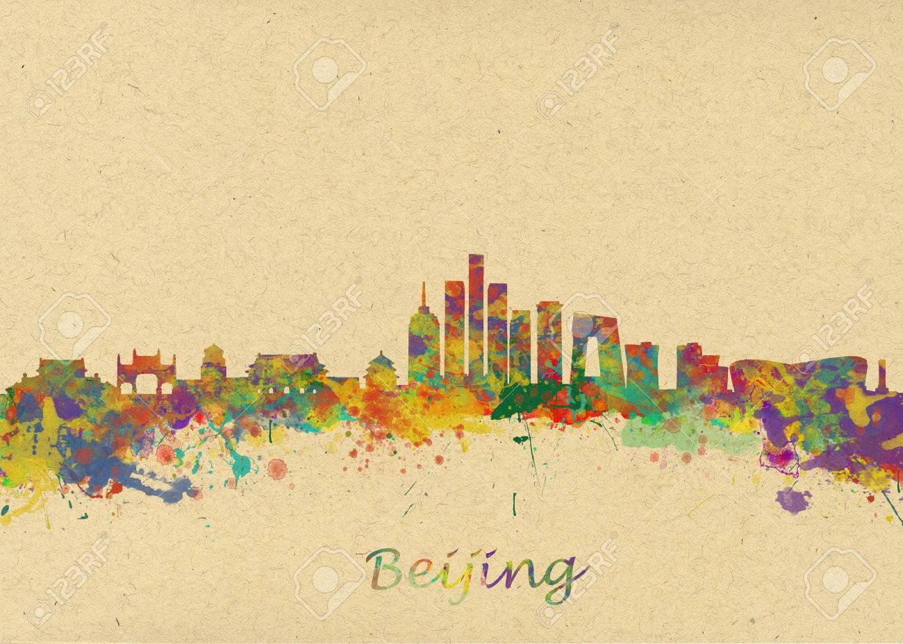 Watercolor Art Print Of The Skyline Of Beijing China Beautiful ...