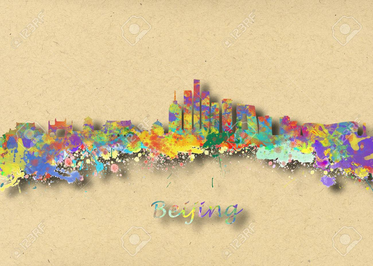 Watercolor Art Print Of The Skyline Of Beijing China Beautiful ...