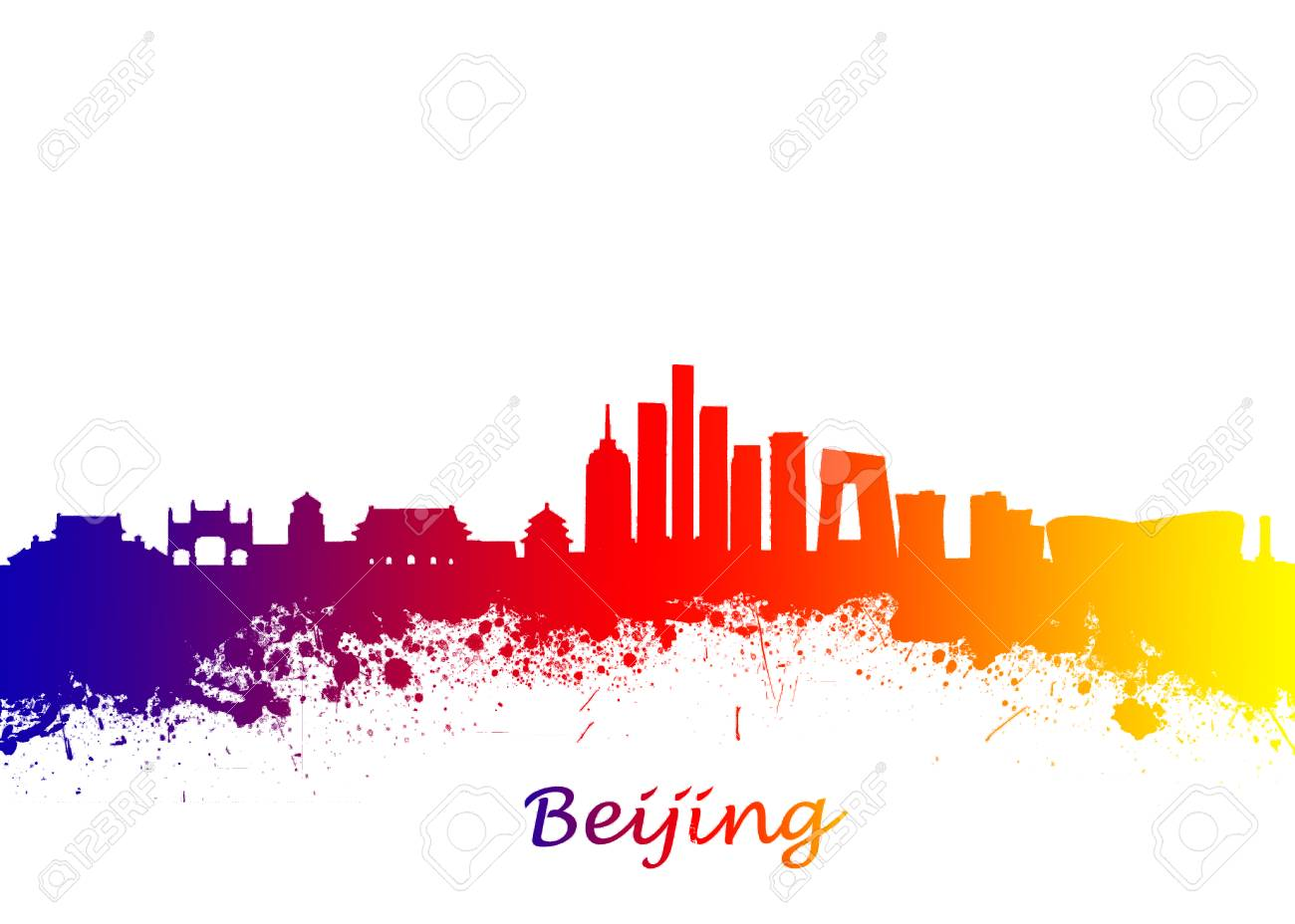 Watercolor Art Print Of The Skyline Beijing China Beautiful Wall Home Decor Canvas Prints Image Great Presentation In Both Corporate And Personal